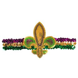 Mardi Gras Sequin Headband with Fleur De Lis Design