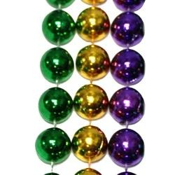 48in 16mm Round Metallic Purple/ Green/ Gold Throw Beads