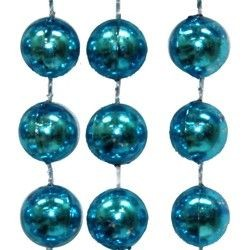 60in 12mm Metallic Round Turquoise Beads