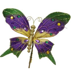 Mardi Gras Velvet Butterfly Pick/ Clip with Jewels