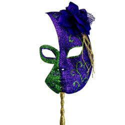Mardi Gras Half Glitter Mask in Purple and Green w/Flower On The Side w/Stick