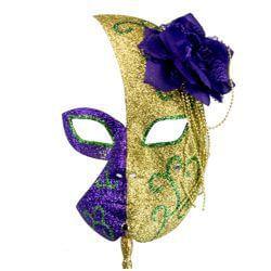 Mardi Gras Half Glitter Mask in Gold and Purple w Flower On The Side w e78508989291