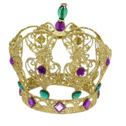 Gold Iron Plate Crown Ornament/ Centerpiece w/ Purple and Green Jewels