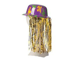 Mardi Gras Plastic Derby Hats with Tinsel