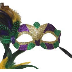 6.5in Wide x 3in Tall Mardi Gras Glitter Eye Mask w/ Feathers on the Side and Jewel
