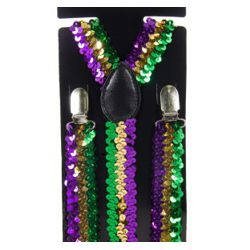 Mardi Gras Sequin Suspenders in Purple, Green, Gold
