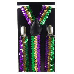 Mardi Gras Sequin Suspenders in Purple, Green, Gold