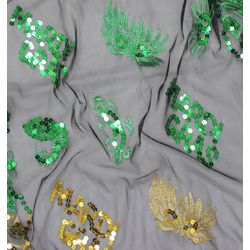 Mardi Gras Party Theme Sequin Fringe Scarf w/ Masks Design