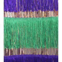 Mardi Gras Sequin Dress w/ Fringe Size Large