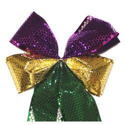 Mardi Gras Decorative Loop Bow with Metallic Ribbon