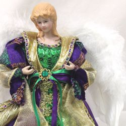 12in Tall Mardi Gras Angel Tree Topper