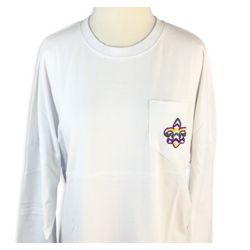 Mardi Gras Long Sleeve White Spirit T-Shirts w/Pocket and Fleur de Lis Design Size Medium