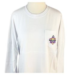 Mardi Gras Long Sleeve White Spirit T-Shirts w/Pocket and Fleur de Lis Design Size Large