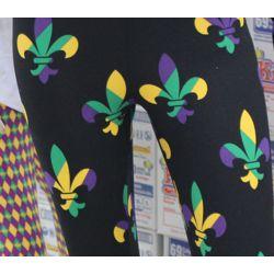 Mardi Gras Leggings w/ Fleur de Lis Design