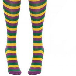 Mardi Gras Striped Long Socks Above Knees