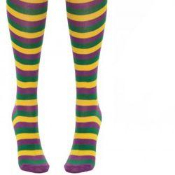 Mardi Gras Striped Long Socks Above Knees