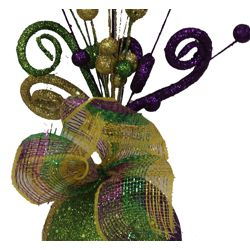 13.5in Mardi Gras Centerpiece with Purple/ Green/ Gold Deco Mesh Ribbon Decor {pick, stem, spray, on