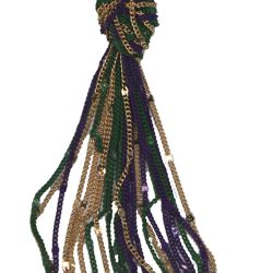 Mardi Gras Metal Chain Tassel Necklace