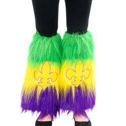 Mardi Gras Fleur de Lis Furry Leg Warmers