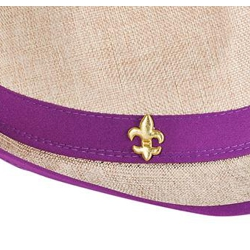 Mardi Gras Fedora Hat w/ Embroidered Fleur-De-Lis On Hatband