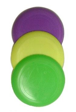 3 1/2in Purple Green Yellow Frisbees