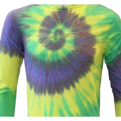 Mardi Gras Long Sleeve Tie Dye T-Shirt Size X-Large