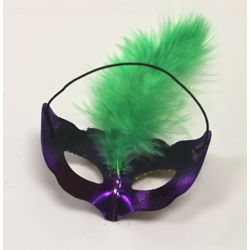 3.5in Tall x 1.5in Wide Mini Mardi Gras Purple and Gold Feather Masks - Napkin Holder