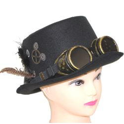 Unisex Black Deluxe Felt Steampunk Top Hat w/ Googles and Feathers