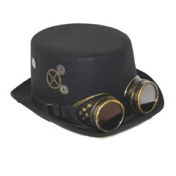 Unisex Deluxe Felt Steampunk Top Hat w/ Googles
