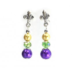 Mardi Gras Pearl Finish Earrings with Fleur de Lis Design