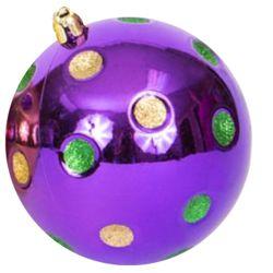 100mm Mardi Gras Ornaments with Dots/ Balls