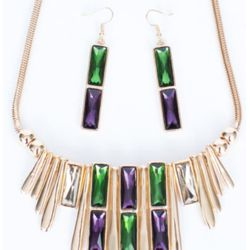 12in Mardi Gras Carnival Dangle Necklace and Earrings Set