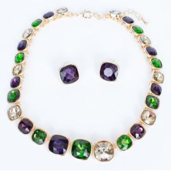 10in Mardi Gras Carnival Necklace and Earrings Set