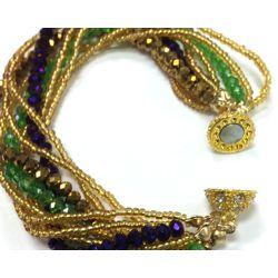 Mardi Gras Carnival Crystal Twist Bead Magnet Ball Bracelet