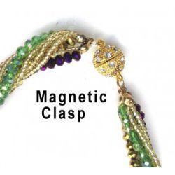 Mardi Gras Carnival Crystal Twist Bead Magnet Ball Necklace
