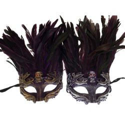 Venetian Purple Feathers Men Mask with Skull Design in Gold and Silver