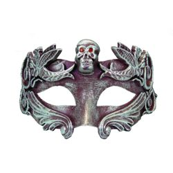 Venetian Men Eye Mask in Gold/ Silver w/ Skull Design