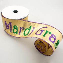 2.5in x 30ft Mardi Gras Greeting Lame Fabric Ribbon