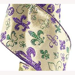 4in x 30ft Mardi Gras Lame Fabric Ribbon with Fleur-de-lis Design