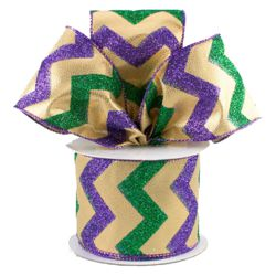 2.5in x 30ft Mardi Gras Gold Lame Chevron Ribbon