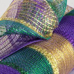 21in x 30ft Mardi Gras Stripe Deco Tinsel Mesh