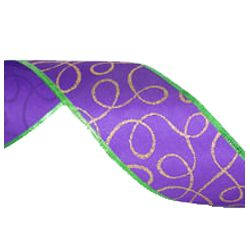 2.5in x 30ft Purple Satin w/ Gold and Green Accents Mardi Gras Ribbon