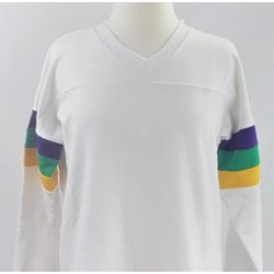 Mardi Gras Long Sleeve White Spirit T-Shirts Size Small