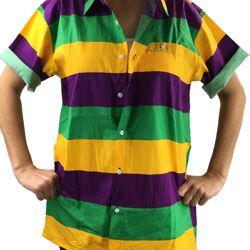 Mardi Gras Hawaiian Style Shirt Size Medium