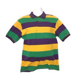 Mardi Gras Style T-Shirt W/Short Sleeve/Collar XXL Size