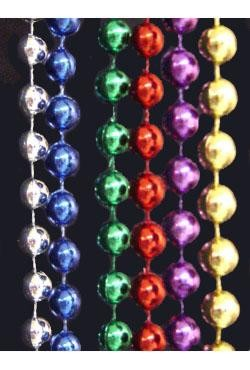 96in 7mm Round Metallic 6 Assorted Color Beads