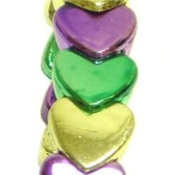 Metallic Purple/ Green/ Gold Heart Bracelets