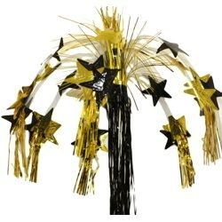 8 ft Black and Gold Metallic Star Cascade Fountain