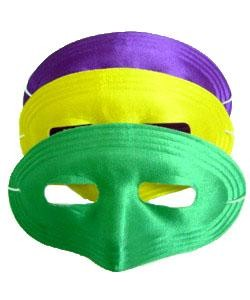7in x 4in Assorted Purple Green Yellow Satin Half Mask
