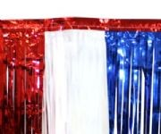 15in Tall x 10ft Wide Red/ White/ Blue Metallic Fringe